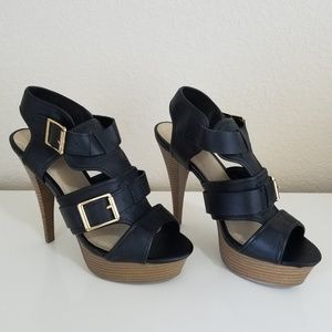 Mossimo Strappy Buckle Black High Heels Size 6.5